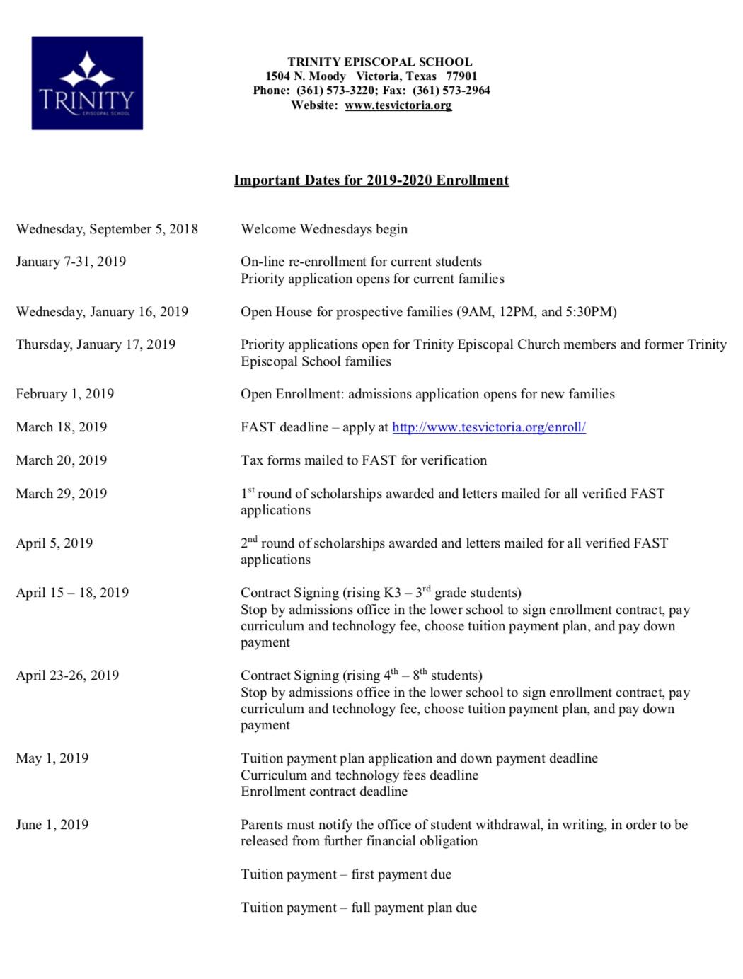Admissions Timeline - Trinity Episcopal School